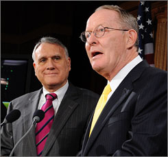 Sens. Jon Kyl, left, and Lamar Alexander are among Senate Republican leaders criticizing how the Obama administration handled AIG's distribution of bonuses to top executives.