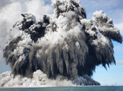 An undersea volcano erupts off the coast of Nuku'Alofa, Tonga, on Wednesday.