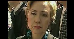 Hillary Rodham Clinton is surrounded by reporters in this image from a movie critical of the former first lady.