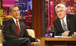 President Obama joins Jay Leno on Thursday for taping of The Tonight Show with Jay Leno, in Burbank, Calif.