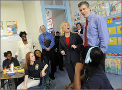 Sen. Mary Landrieu, D-La., and U.S. Education Secretary Arne Duncan, right, meet with fourth-graders at Sophie B. Wright Charter School in New Orleans on Friday.