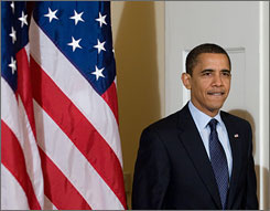 President Obama, seen here arriving to address the National Conference of State Legislatures meeting in Washington on Friday, advised states to spend their economic recovery funds wisely.