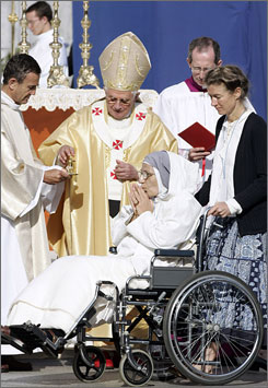 Pope Benedict XVI celebrates a special Mass for hte sick in front of the Basilica of the Rosary, in Lourdes, France on Sept. 15.