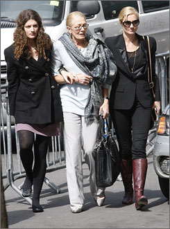 Vanessa Redgrave, center, her daughter actress Joely Richardson, right, and her granddaughter Daisy Bevan arrive at the wake for Natasha Richardson at the American Irish Historical Society in New York on Friday.