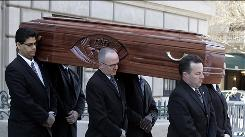 Pallbearers carry the casket of actress Natasha Richardson from the American Irish Historical Society on Saturday. Her funeral will be held Sunday at 2 p.m. in upstate New York.