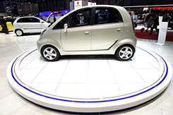 The Tata Nano Europa, a slightly more robust version of the Indian model, was shown on March 4 at the Geneva International Motor Show, in Geneva.