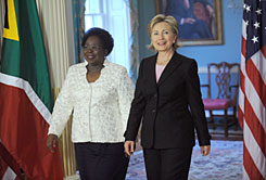 Secretary of State Hillary Clinton, right,  walks with Nkosazana Dlamini-Zuma, Minister of Foreign Affairs of the Republic of South Africa on March 19 at the State Department in Washington, DC.