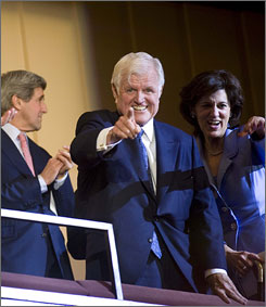 Sen. Edward Kennedy, shown at his birthday celebration in Washington, D.C., earlier this month, returned to the Hill.