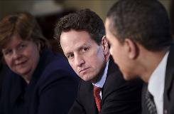 Treasury Secretry Timothy Geithner listens to President Obama after a daily economic briefing Monday at the White House. At left is Christina Romer, chairwoman of the Council of Economic Advisors.