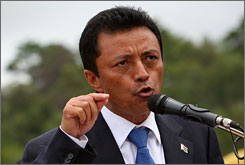 Ousted Madagascar President Marc Ravalomanana reportedly is in Swaziland. Here, Ravalomanana gives a speech in Antananarivo, Madagascar, on March 15.
