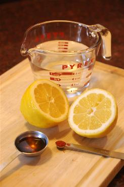 The Master Cleanse diet instructs people to dirnk a mixture of 2 tablespoons lemon juice, 2 tablespoons organic maple syrup, one-tenth teaspoon or pinch of cayenne pepper and one cup (8 ounces) of water.