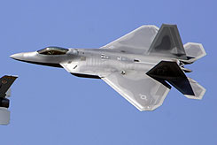 A F-22 Raptor performs at the N'Awlins Air Show in Belle Chasse, La. One of the Air Force's top-of-the-line F-22 fighter jets crashed Wednesday in the high desert of Southern California.