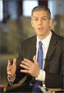Secretary Duncan said he was wary of federal intervention, but that the stimulus &quot;is putting unprecedented resources out into schools and communities in a time of desperate need We are on the verge of an education catastrophe in this country.&quot;