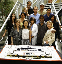 Members of the Grey's Anatomy cast, including former guest star Jeffrey Dean Morgan, and producers Shonda Rhimes and Betsy Beers celebrated the series' 100th episode on the set of the show in L.A. on Friday.