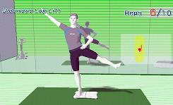 In Wii Fit, users standing on a movement-sensitive board follow an on-screen trainer through aerobics, yoga, strength exercises and balance games.