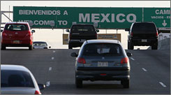 Cars leave El Paso and enter Juarez, Mexico at the Bridge of the Americas international port. Returning from Canada and Mexico will now require passports.