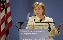 "Secretary of State Hillary Rodham Clinton, who did not meet with the Iranian delegation, called Iran's presence at the international conference on Afghanistan ""a promising sign that there will be future cooperation."""