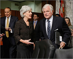 Kansas Gov. Kathleen Sebelius, seen here with Sen. Edward Kennedy, D-Mass., on Tuesday on Capitol Hill on Washington, is appearing before a Senate panel headed by Kennedy to discuss her nomination to head the Department of Health and Human Services.