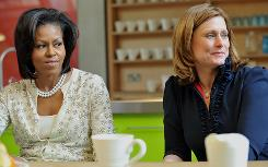 Michelle Obama and Sarah Brown, wife of British Prime Minister Gordon Brown, visit Maggie's Cancer Caring Centre on Wednesday in London. President Obama and British Prime Minister Gordon Brown held talks at Downing Street on the eve of a G-20 summit aimed at fixing the global economy.