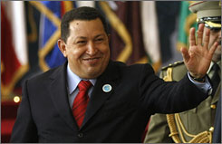 When asked about President Obama's recent overtures to Iran for improved relations, Venezuelan President Hugo Chavez said he will wait and see how the new administration takes shape but that he isn't optimistic.
