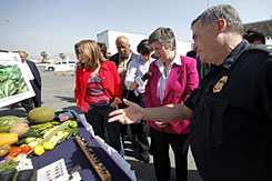 Secretary of the Department of Homeland Security Janet Napolitano, center, congresswoman Loretta Sanchez, left, and congressman Bennie Thompson, second from left, get briefed by an officer of Customs and Border Protection during their tour of Otay Mesa Port of Entry in San Diego on Wednesday.