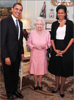 The queen and her husband entertained the Obamas in her private audience room, which overlooks the palace gardens where thousands of daffodils and other flowers were in bloom. After her meeting with the Obamas, the queen held a reception for all the world leaders attending the summit.