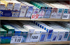 Cigarette packs are on display in a shop in New York City.