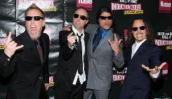 Musicians James Hetfield, Lars Ulrich, Robert Trujillo and Kirk Hammett of Metallica attend the 24th Annual Rock and Roll Hall of Fame Induction Ceremony at Public Hall Saturday in Cleveland, Ohio.