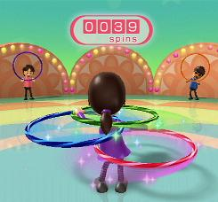 In Wii Fit, users standing on a motion-sensitive board follow an on-screen trainer through aerobics, yoga and strength exercises, along with balance games such as hula hoops.