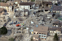 An aerial view offers a look at the range of the destruction from the earthquake in L'Aquila, Italy, on Monday.