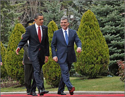 President Obama attends a welcoming ceremony at Cankaya Palace in Ankara, Turkey, Monday with Turkish President Abdullah Gul.