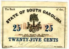 A 25-cent note from the Bank of South Carolina.