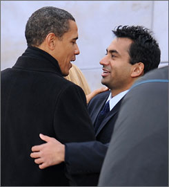 Actor Kal Penn of the television show House and the Harold and Kumar movie series is joining the staff of the White House. Here, Penn is seen with President Obama - then President-elect Obama - on the National Mall in Washington on Jan. 18 during inauguration festivities.