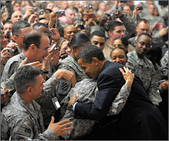 President Obama greets American troops at Camp Victory in Iraq on Tuesday.