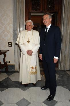 Pope Benedict XVI met then-Prime Minister Tony Blair at the Vatican June 23, 2007.