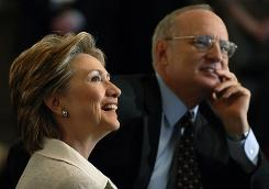 Rabbi David Saperstein and Hillary Rodham Clinton attend a religious conference held by the Religious Action Center of Reform Judaism in April 2007 in Washington.