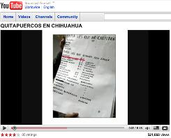 "A video posted by a Mexican cartel shows a hit list of those targeted. ""Quitapuercos"" roughly translates to ""removal of pigs."" The sheet of paper is usually left near a victim."