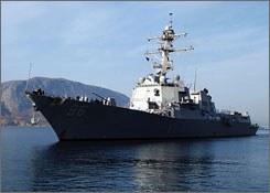 The U.S. Navy destroyer USS Bainbridge, one of the warships that has converged on the Indian Ocean scene where the captain of a U.S.-flagged ship is being held hostage by pirates, is seen in Crete, Greece, in October 2007.
