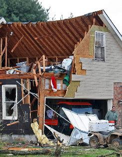 A tornado caused heavy damage in the Blackman community in Murfreesboro, Tenn., on Friday. A reported tornado hit central Tennessee as a line of storms moved into the South from the Midwest.