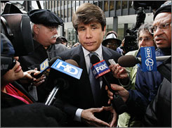 Former Illinois Gov. Rod Blagojevich, seen here arriving at federal court in Chicago on Tuesday, has pleaded not guilty to corruption charges.