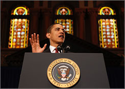 President Obama told an audience at Georgetown University in Washington Tuesday that there will be some tough choices ahead to help repair the country's ailing economy.