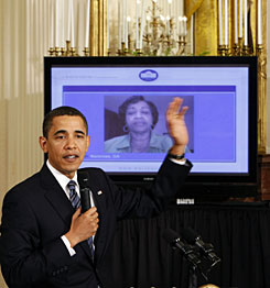 President Obama holds an 'Open For Questions' town hall style meeting in the East Room of the White House in Washington on March 26. It was the first online town hall done in the White House. As a candidate, Obama capitalized on engaging voters online.