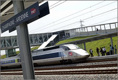 President Obama is urging that the country move quickly toward a high-speed rail system. Here, a high-speed train is seen in June 2007 in Bezannes, France.
