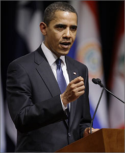 "President Obama, seen here delivering a speech in Trinidad and Tobago on Friday, said in his weekly address that he plans on announcing ""the elimination of dozens of government programs shown to be wasteful or ineffective."""