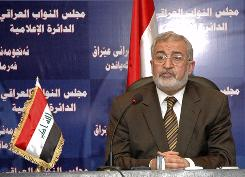 Ayad al-Samarraie speaks during a news conference after being elected as the new parliament speaker in Baghdad on Sunday.
