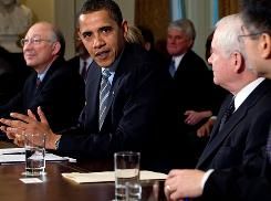 President Obama speaks alongside members of his Cabinet on Monday in Washington  about budgetary savings.