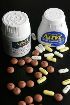 Pain relievers Advil and Aleve include ibuprofen and naproxen, respectively, which do not lower rates of dementia, according to a study.