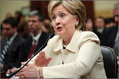 Secretary of State Hillary Rodham Clinton testifies on Capitol Hill on Wednesday.