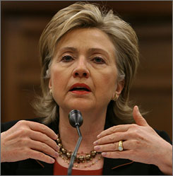 Secretary of State Hillary Rodham Clinton testified before a House Appropriations Committee hearing on Capitol Hill in Washington on Thursday that Pakistan is feeling threatened by its extremist insurgency.