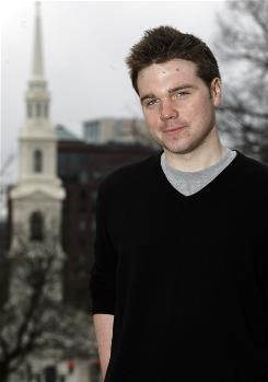 Brown University senior and author of The Unlikely Disciple Kevin Roose stands in front of the First Baptist Church of America in Providence, R.I.